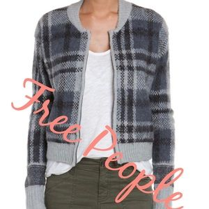 Free People Gray Plaid Bomber Cardigan L